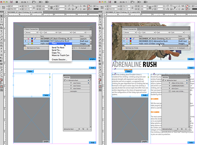 Example of placing a multi-component InCopy article into an InDesign article