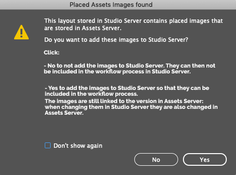 When placed Assets images are found, a dialog appears