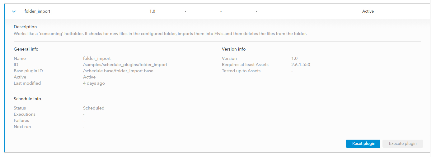 The Reset Plugin button in the Management Console