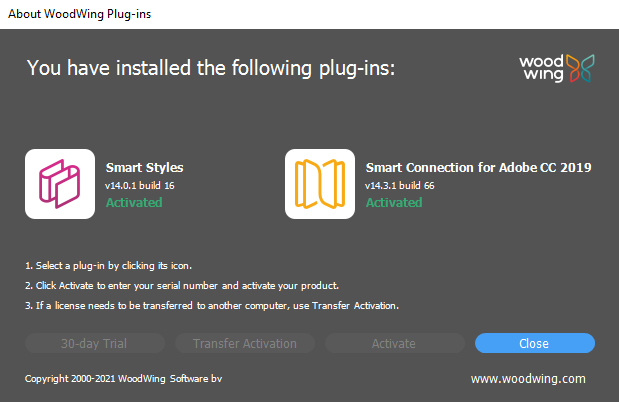 The About WoodWing Plug-ins screen for Smart Connection 14.3.1