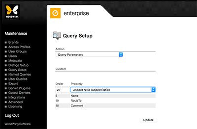 The default fields on the Query Setup page