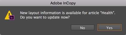 The message that appears when new layout information is avaible