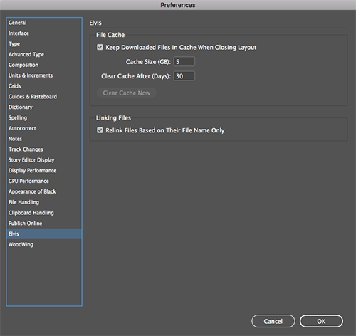 The Elvis preferences in InDesign