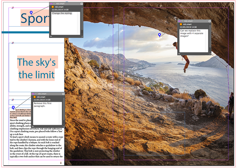 Sticky Notes on a layout in InDesign