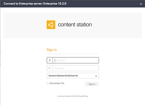 The Content Station log-in screen