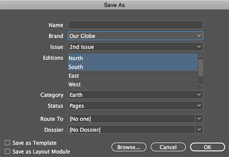 Editions in the Save As dialog box