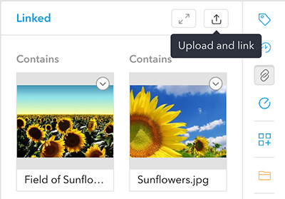 Uploading a file through the Linked panel