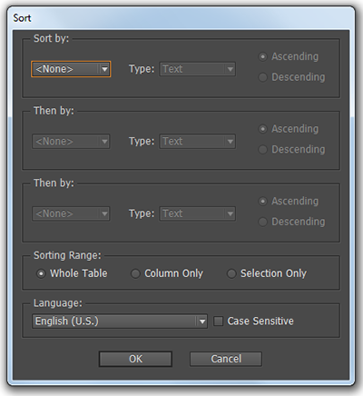 The Sorting dialog for tables.