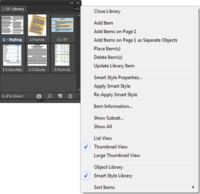Smart Styles options in the Library menu.