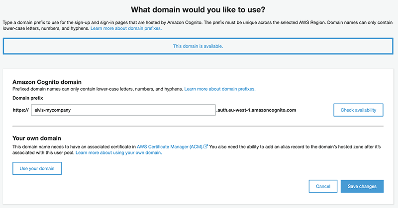 The domain name page.