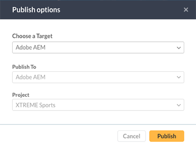 The Publish options
