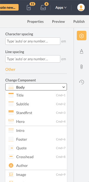 The Change Component option in the Properties panel
