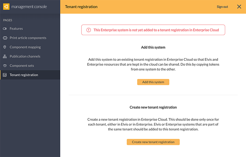 The Tenant registration page of a system that is not yet added.