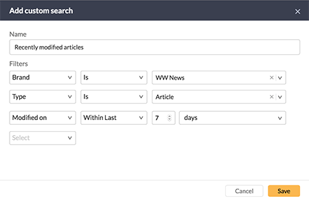 Criteria for finding recently modified articles