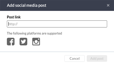 The Add social media component window