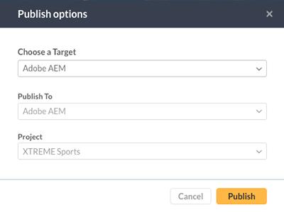 The Publish options