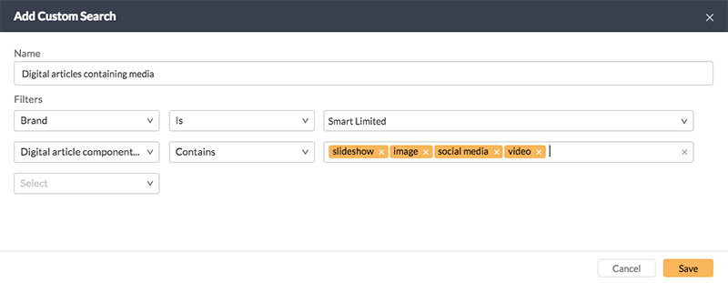 A Custom Search with Digital article component types set up