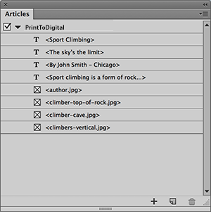 The InDesign Articles panel