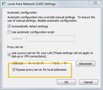The 'Bypass proxy' settings on Windows