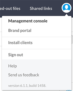 The Management Console option in the Avatar menu