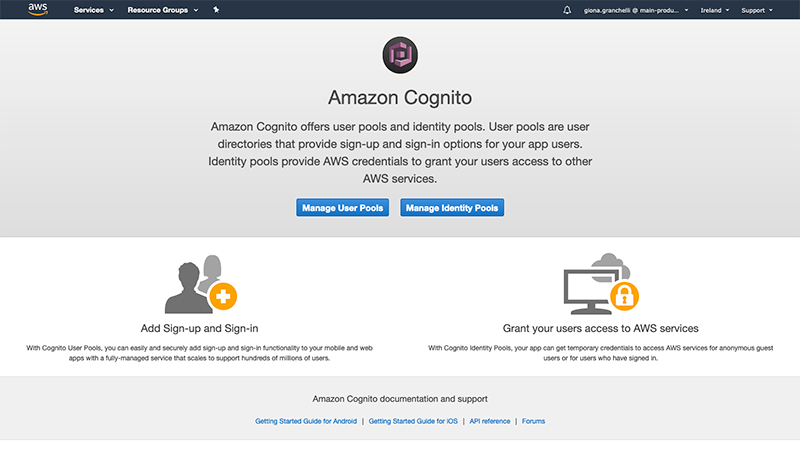 The Amazon Cognito page
