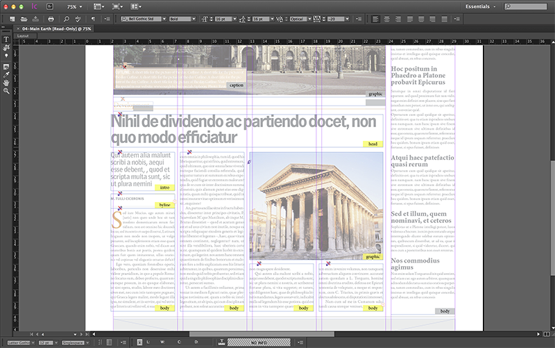 A layout opened in InCopy