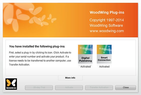 The About WoodWing screen