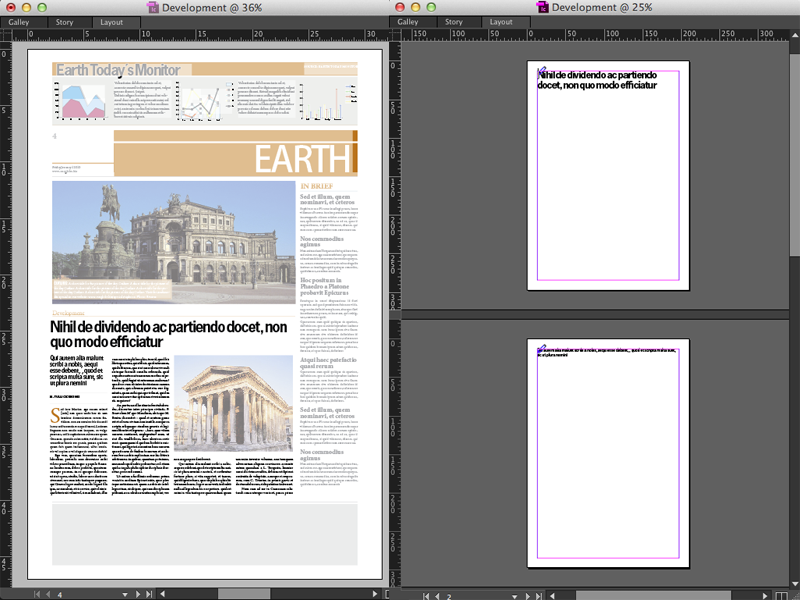 Example of opening an article with and without design information
