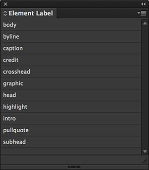 The Element Labels panel