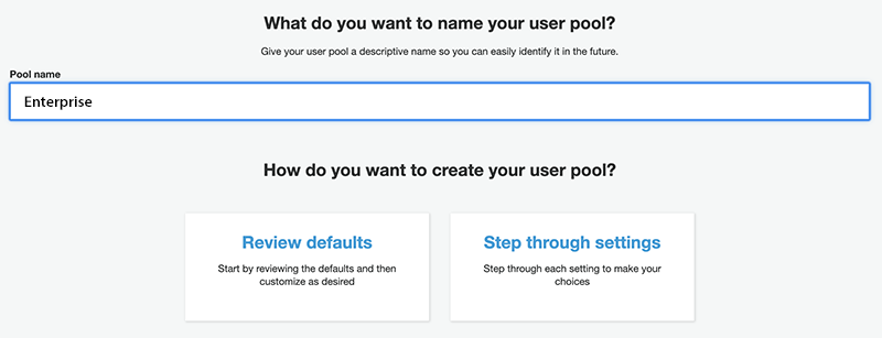 Entering a user pool name.