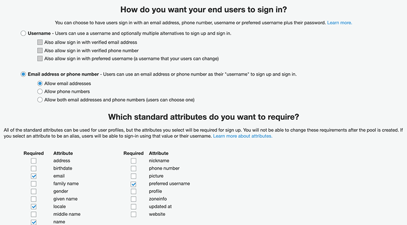 The attributes page.