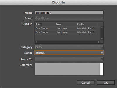 The Check-in dialog box for a Planned Image