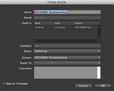 The Create Article dialog box