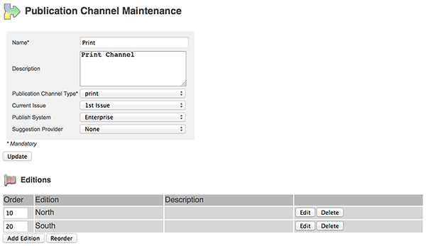 The Editions section on the Publication Channel Maintenance page