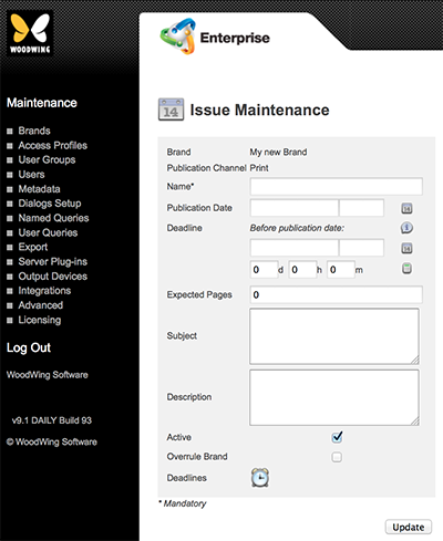 The Issue Maintenance page