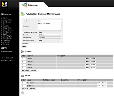 The Publication Channel Maintenance page for a print channel