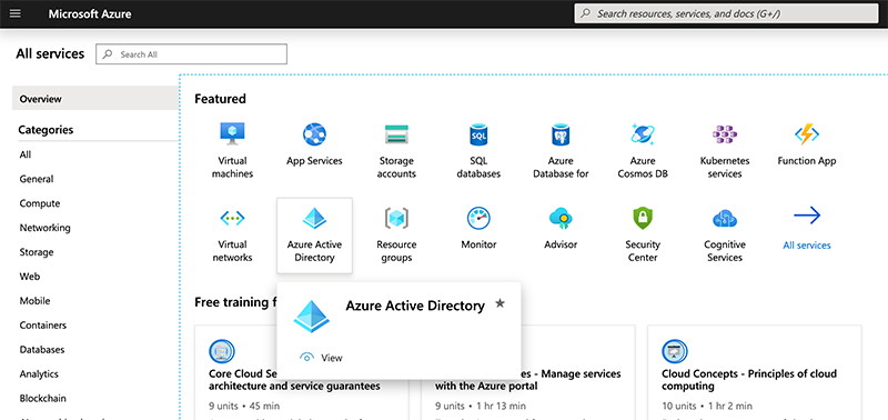 Choosing Azure Active Directory.