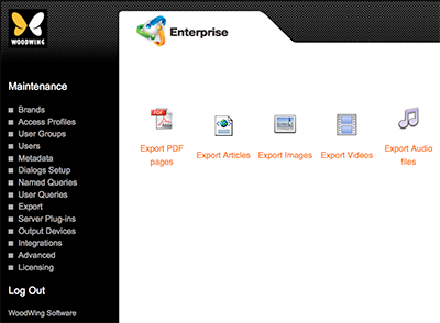 The Export page