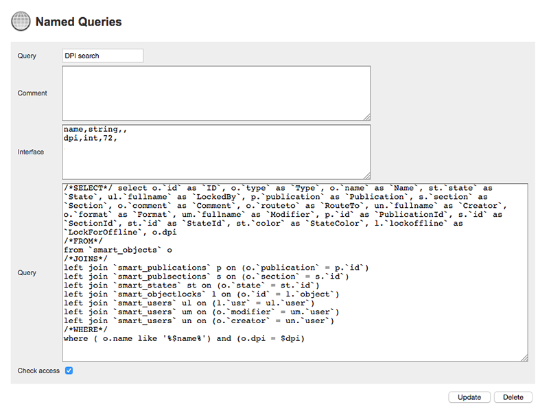 Named Query example