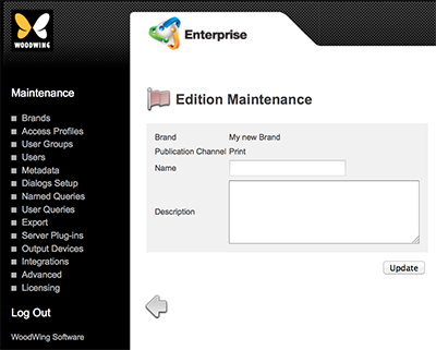 The Edition Maintenance page
