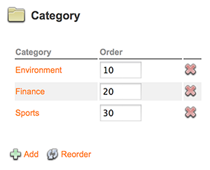 The Category section on the Brand Maintenance page
