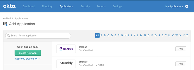 The Okta Add Application page