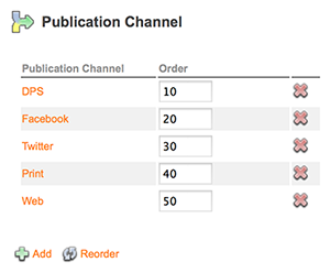 The Publication Channel options