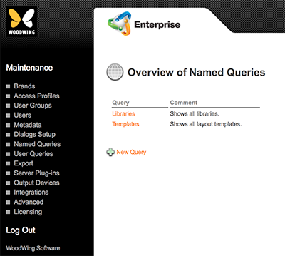 The Overview of Named Queries page