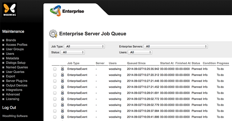 The Enterprise Server Job queue with Jobs