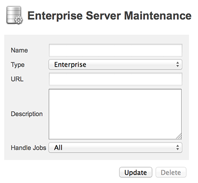 The Enterprise Server Maintenance page
