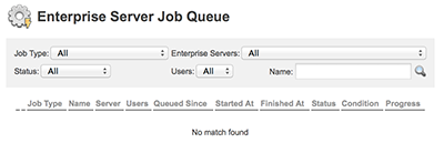The Enterprise Server Job Queue page