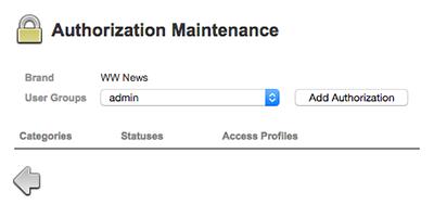 The Authorization Maintenance page