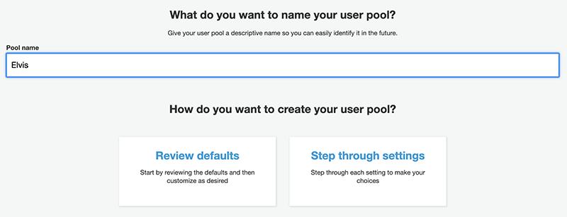 Entering a user pool name.