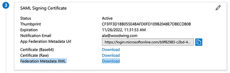 Downloading the Federation Metadata XML file.